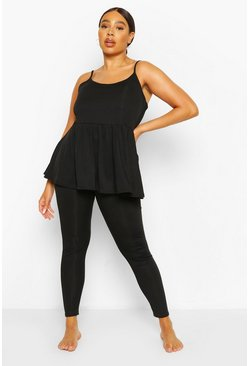 Black Plus Cami Smock Lounge Set