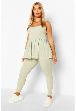 Sage green Plus Cami Smock Lounge Set