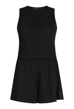 Black Plus Rib Racer Vest And Flippy Short Set