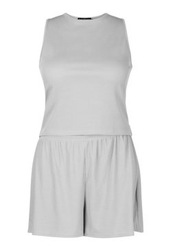 Grey Plus Rib Racer Vest And Flippy Short Set