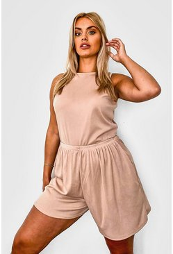 Stone beige Plus - Ribbat set med brottarlinne och vida shorts