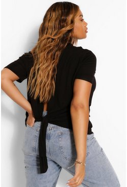Black Plus Tie Back T-Shirt