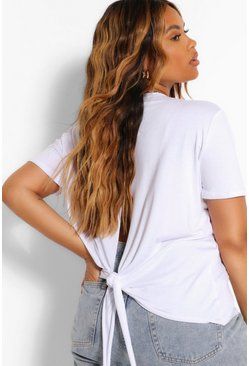 White Plus Tie Back T-Shirt