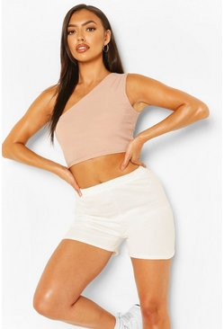 Stone beige Petite Rib One Shoulder Crop Top
