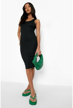 Black Petite Rib Scoop Back Midi Dress