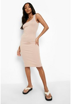 Stone beige Petite Rib Scoop Back Midi Dress