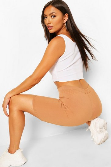 Camel beige Petite Ribbed Cycling Shorts
