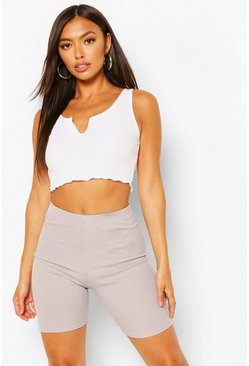Grey Petite Ribbed Cycling Shorts