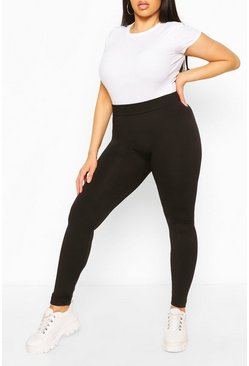 Zwart black Plus superzachte fleece legging met voering
