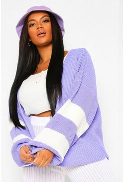 Lilac purple Plus Stripe Balloon Sleeve Cardigan