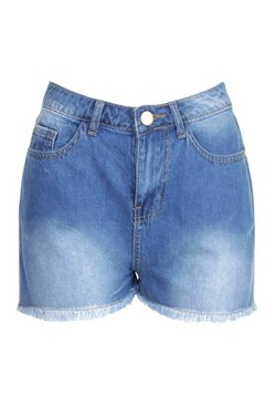 Blue Petite Denim Frayed Hem Shorts
