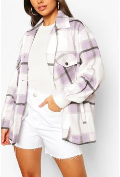 Lilac Petite Check Shacket