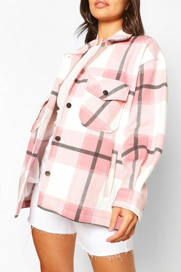Pale pink Petite Check Shirt Jacket