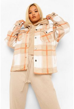 Tan brown Petite Check Shacket