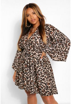 Tan brown Plus Leopard Plunge Kimono Skater Dress