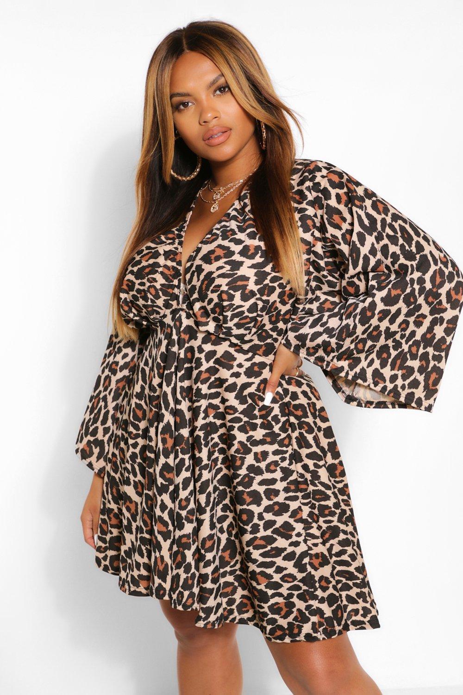 Plus Leopard Plunge Kimono Skater Dress 7