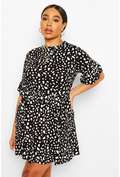 Black Plus Smudge Spot Ruffle Smock Dress