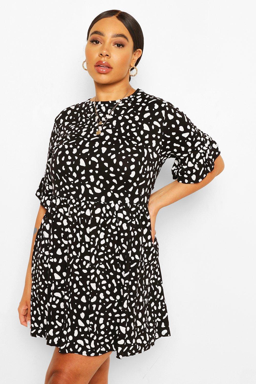 Plus Smudge Spot Ruffle Smock Dress 8