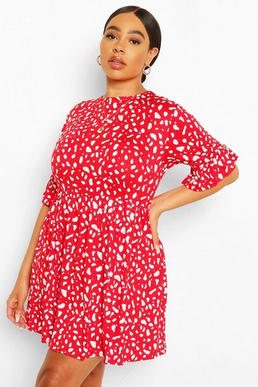Red Plus Smudge Spot Ruffle Smock Dress