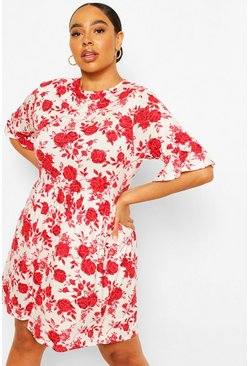 Ivory white Plus Rose Floral Ruffle Smock Dress
