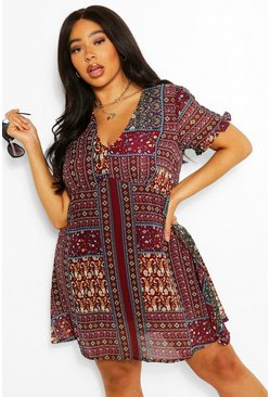 Berry red Plus Boho Aztec Ruffle Smock Dress
