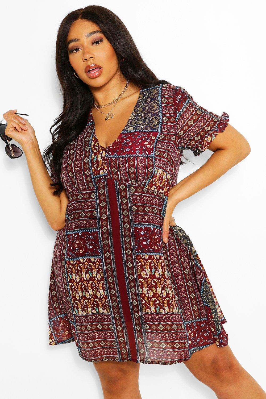 Plus Boho Aztec Ruffle Smock Dress 8
