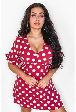 Red Plus Polka Dot Ruffle Smock Dress