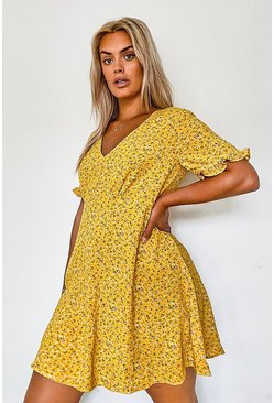 Yellow Plus Ditsy Floral Ruffle Smock Dress