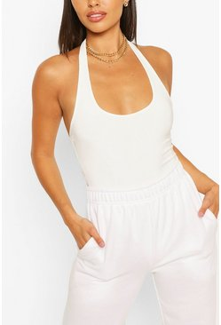 White Petite Double Layer Slinky Bodysuit