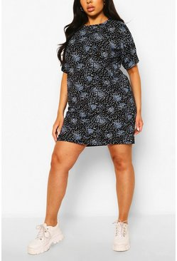 Navy Plus Floral Print T-Shirt Dress