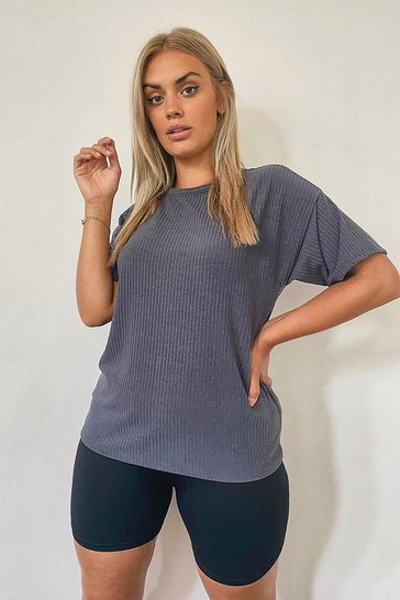Grey Plus Soft Rib Oversized T-Shirt