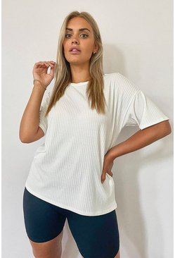 Ivory white Plus Soft Rib Oversized T-Shirt
