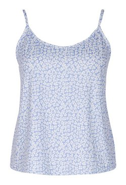 Blue Plus Mono Floral Ribbed Cami