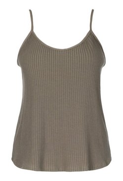 Khaki Plus Soft Ribbed Cami