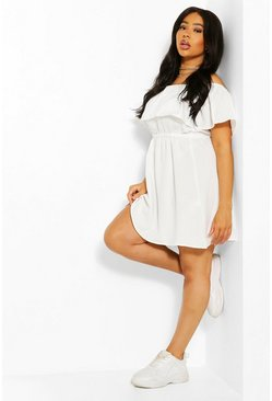 Ivory white Plus Off The Shoulder Ruffle Sundress