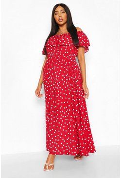 Red Plus Polka Dot Off The Shoulder Ruffle Maxi Dress