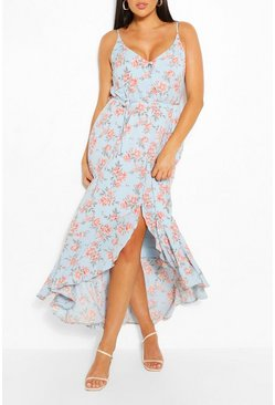 Sky blue Plus Floral  Ruffle Tie Waist Maxi Dress