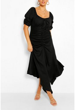 Black Plus Ruched Detail Maxi Dress