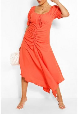 Orange Plus Ruched Detail Maxi Dress