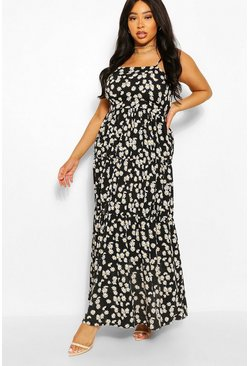 Black Plus Daisy Printed Tiered Maxi Dress