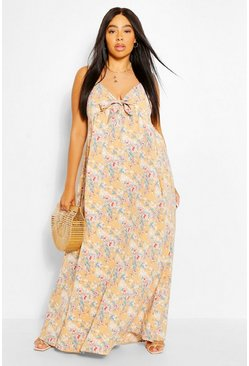 Tan brown Plus Floral Tie Front Maxi Dress