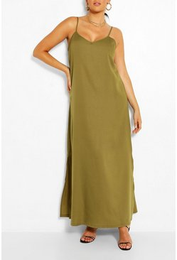 Khaki Plus Strappy Cami Maxi Dress