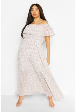 Ivory white Plus Floral Ruffle Bardot  Maxi Dress