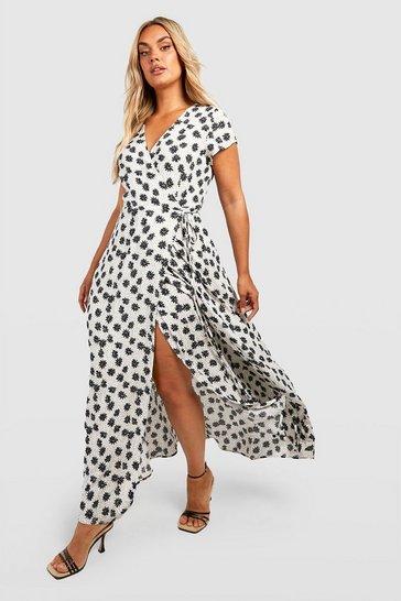 Ivory white Plus Floral Wrap Maxi Dress