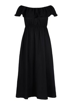 Black Plus Ruffle Bardot Maxi Dress