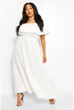 Ivory white Plus Ruffle Bardot Maxi Dress