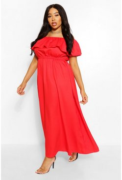 Red Plus Ruffle Bardot Maxi Dress