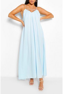 Blue Plus Strappy Cut Out Maxi Dress