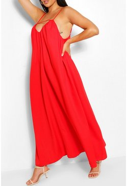 Red Plus Strappy Cut Out Maxi Dress