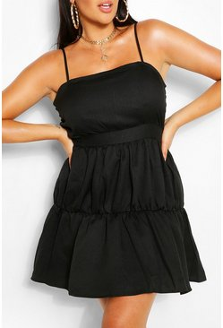 Black Plus Tiered Strappy Sundress